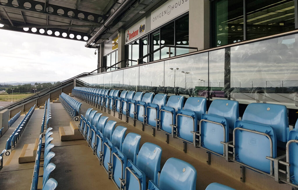 QBuild Commercial Balustrade in stands at Sandy Park - Exeter Chiefs Rugby Stadium