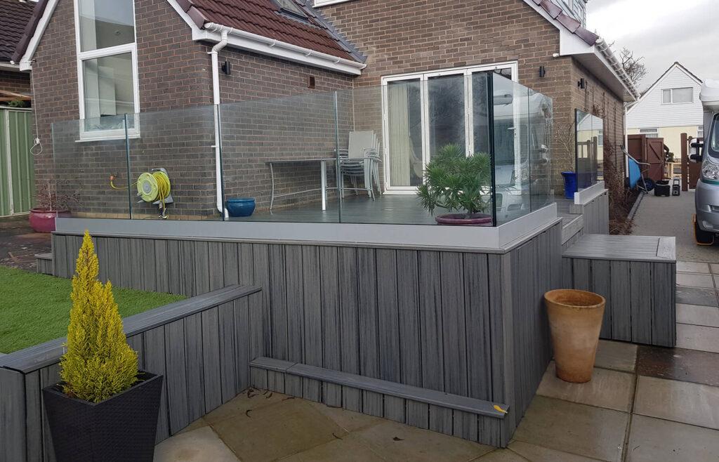 QBuild External Glass Balustrade Landscpaing & Patio builder in Exeter