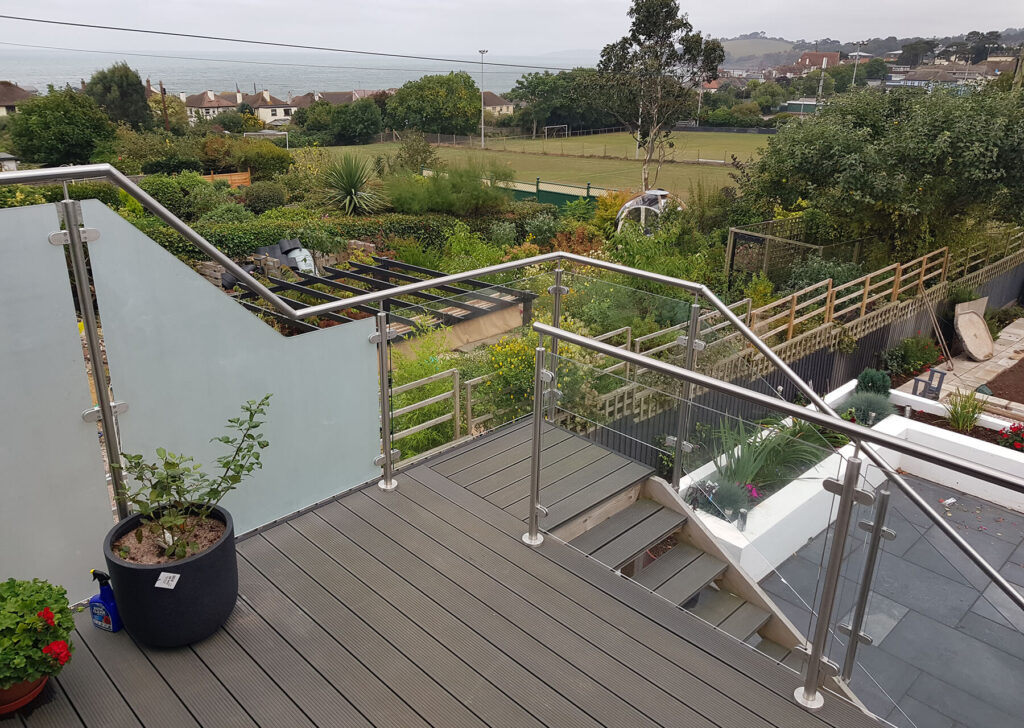 QBuild External Glass & Steel staircase patio Balustrade builder in Exeter
