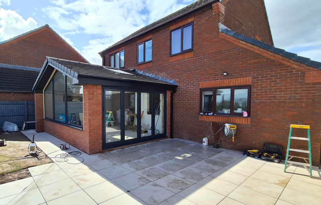 QBuild finished extension with bi-fold doors and lareg window in Exeter